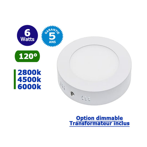 Dalle de surface ronde - 6 Watts - 120 х 36 mm - Angle 120° - IP20 - Transaformateur inclus - Option Dimmable - Garantie 5 ans