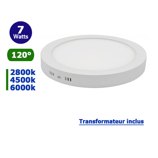 Dalle de surface ronde - 7 Watts - 120 X 38 mm - Angle 120° - IP20 - Transformateur inclus