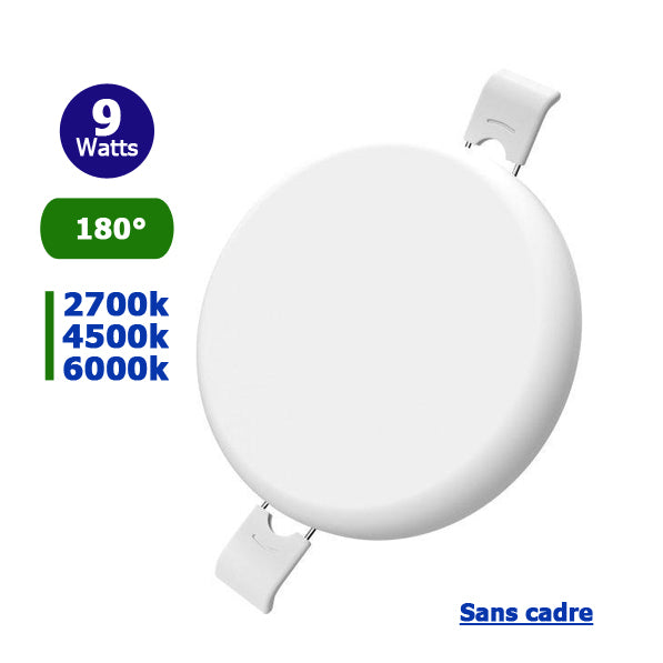 Spot encastrable LED - Top Design - Sans bordure / cadre - Rond - 9 Watts - 760 Lumens - 85 Lumens / Watt - Dimensions 90 x 27 mm - Découpe 75 mm - 180° - IP54  -Transformateur inclus