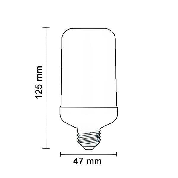 Lot de 10 Ampoules LED Flamme E27 - 5 Watts - 150 Lumens - 30 Lumens/Watt - 47 x 125 mm - Angle 270° - IP20