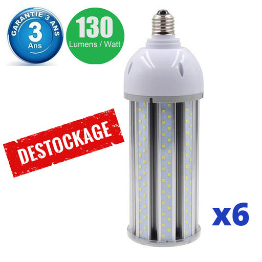 DESTOCKAGE - Pack de 6x Ampoules LED  E27 / E40 au choix - 50 Watts - 6500  lumens - 130 lumens/Watt - 93 x 305 mm - Angle 360° - IP44 - Dimmable