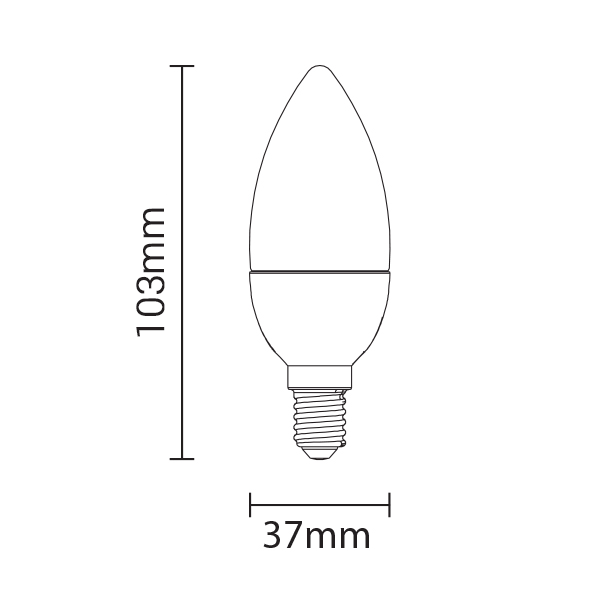 Ampoule LED E14 C37 - 6 Watts - Bougie - 480 Lumens - 80 Lumens/Watt - 37 x 100 mm - Angle 240° - IP20