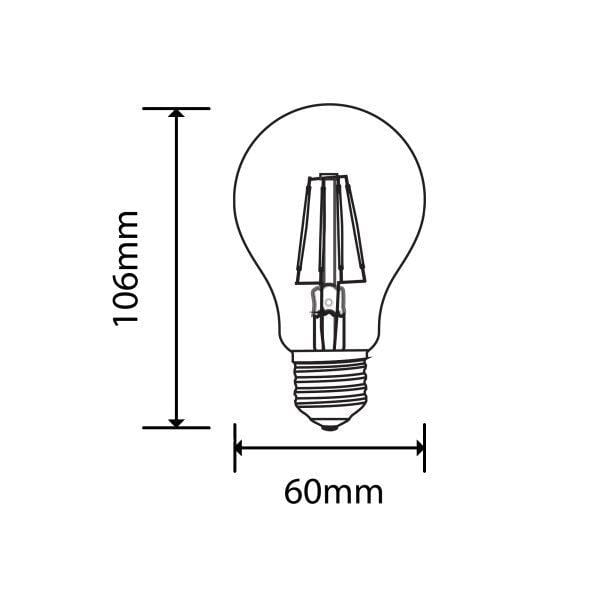 Lot de 10 Ampoules LED E27 - 6 Watts - Filament - 600 Lumens - 100 Lumens/Watt - 60 x 106 mm - Angle 300° - IP20 - Dimmable