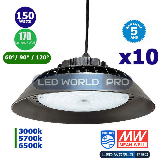 Pack de 10x Lampes industrielles UFO - Série HBK - 150 Watts - 25 500 Lumens - 170 Lumens/Watt - Angle 60° / 90° / 120° en option - 330 x 194 mm - IP65 - Transformateur Meanwell - Garantie 5 ans