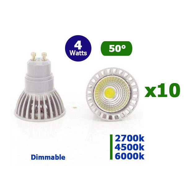 Lot de 10 Ampoules LED COB GU10 - 4 Watts - 210 Lumens - 52 Lumens/Watt - 50 x 60 mm -50 degrés - IP20 - Dimmable