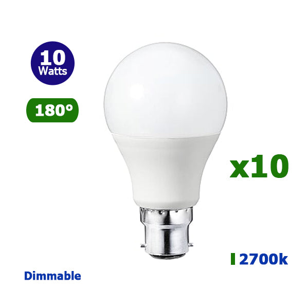 Lot de 10 Ampoules LED B22 A60 - 10 Watts - 800 Lumens - 80 Lumens/Watt - 59 x 110 mm - Angle 180° - IP20 - Dimmable