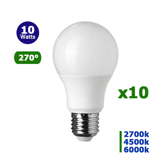 Lot 10 Ampoules LED E27 - 10 Watts - 800 Lumens - 80 Lumens/Watt - 108 x 60 mm - Angle 270° - IP20