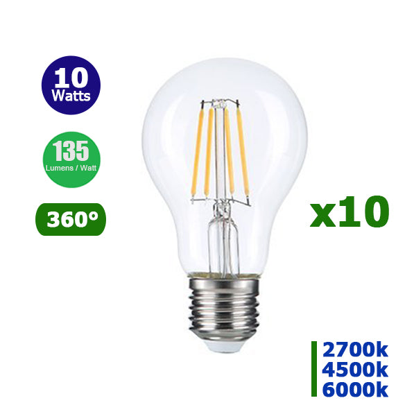 Lot de 10 Ampoules LED E27 A60 - 10 Watts - Filament - 1350 Lumens - 135 Lumens/Watt - 60 x 110 mm - Angle 360° - IP20