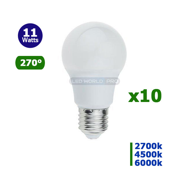 Lot de 10 Ampoules LED E27 A60 - 11 Watts - 950 Lumens - 87 Lumens/Watt - 60 x 110 mm - Angle 270° - IP20