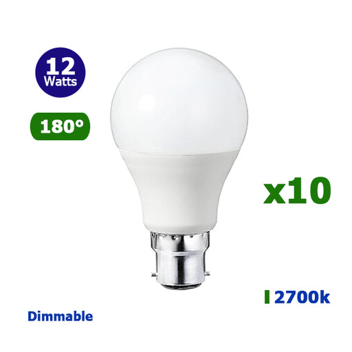 Lot de 10 Ampoules LED B22 A60 - 12 Watts - 960 Lumens - 80 Lumens/Watt - 59 x 110 mm - Angle 180° - IP20 - Dimmable
