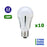 Lot de 10 Ampoules LED E27 - 12 Watts - 900 Lumens - 75 Lumens/Watt - 60 x 118 mm - Angle 180° - IP20