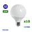 Lot de 10 Ampoules LED G95 E27 - 12 Watts - 1050 Lumens - 87 Lumens/Watt - 95 x 138 mm - Angle 270° - IP20 - Dimmable