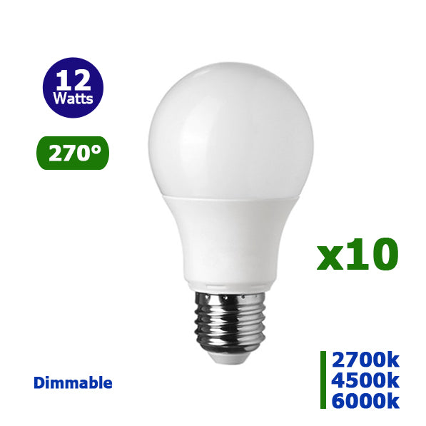 Lot de 10 Ampoules LED E27 A60 - 12 Watts -960 Lumens - 80 Lumens/Watt - 60 x 118 mm - Angle 270° - IP20 - Dimmable