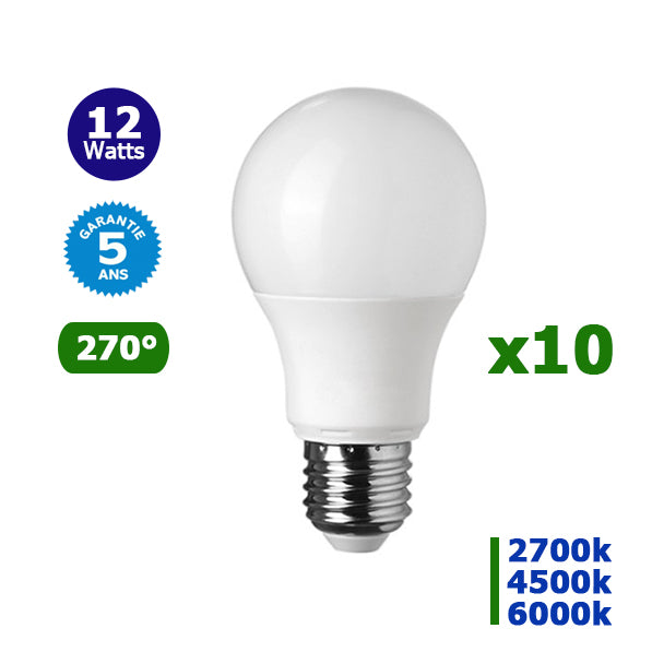 Lot de 10 Ampoules LED E27 - 12 Watts - 1050 Lumens - 87,5 Lumens/Watt - 110 x 60 mm - Angle 270° - IP20 - Garantie 5 ans