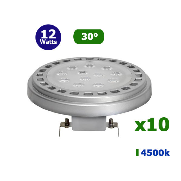 Lot de 10 Ampoules Spot LED AR111/GU53 - 12 Watts - 960 Lumens - 80 Lumens/Watt - 110 x 50 mm - Angle 30° - IP20
