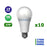 Lot de 10 Ampoules LED E27 A60 - 19 Watts - 2000 Lumens - 106 Lumens/Watt - 65 x 138 mm - Angle 270° - IP20