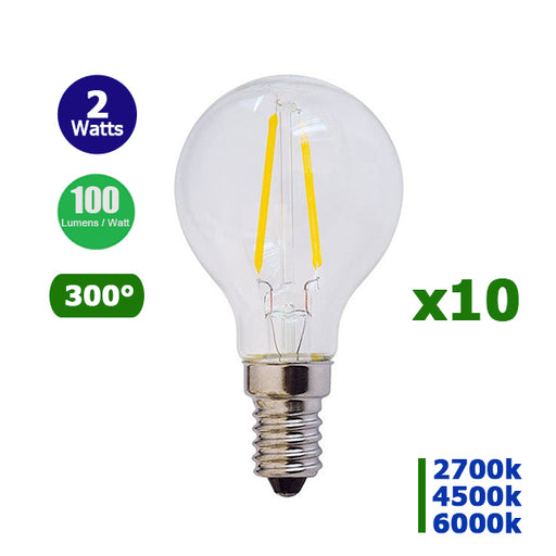 Lot de 10 Ampoules LED E14 G45 - 2 Watts - Filament - 200 Lumens - 100 Lumens/Watt - 45 x 78 mm - Angle 300° - IP20