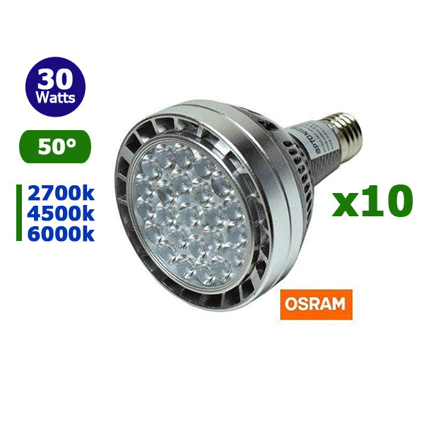 Lot de 10 Ampoules LED PAR30 E27 - 30 Watts - 2400 Lumens - 80 Lumens/Watt - 120 x 95 mm - Angle 50° - IP20 - Osram