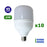 Lot de 10 Ampoules LED E27 - 45 Watts - 4100 Lumens - 91 Lumens/Watt - 140 x 247 mm - Angle 270° - IP20