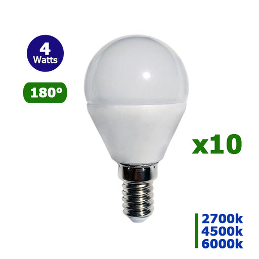 Lot de 10 Ampoules LED E14 - 4 Watts - 320 Lumens - 80 Lumens/Watt - 45 x 78 mm - Angle 180° - IP20