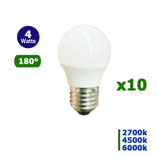 Lot de 10 Ampoules LED E27 - 4 Watts - 320 Lumens - 80 Lumens/Watt - 45 x 75 mm - Angle 180° - IP20