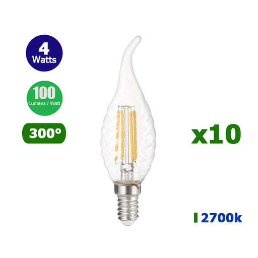 Lot de 10 Ampoules LED TWIST E14 C35 - Filament - Bougie - 4 Watts - 400 Lumens - 100 Lumens/Watt - 35 x 120 mm - Angle 300° - IP20