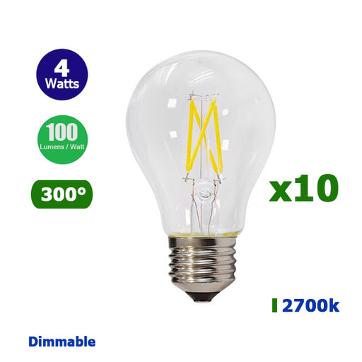 Lot de 10 Ampoules LED E27 A60 - 4 Watts - Filament - 400 Lumens - 100 Lumens/Watt - 60 x 106 mm - Angle 300° - IP20 - Dimmable