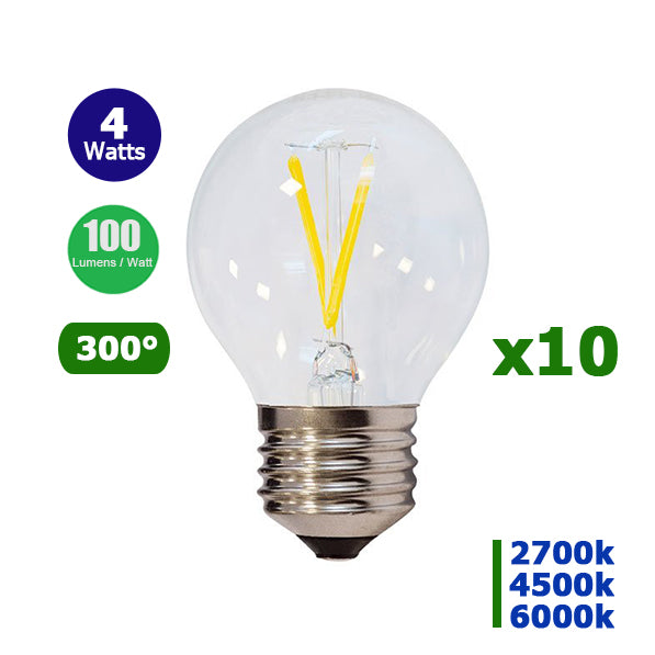 Lot de 10 Ampoules LED E27 - 4 Watts - Filament - 400 Lumens - 100 Lumens/Watt - 45 x 78 mm - Angle 300° - IP20