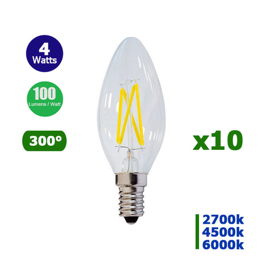 Lot de 10 Ampoules LED E14 - 4 Watts - Filament - Bougie - 400 Lumens - 100 Lumens/Watt - 35 x 98 mm - Angle 300° - IP20