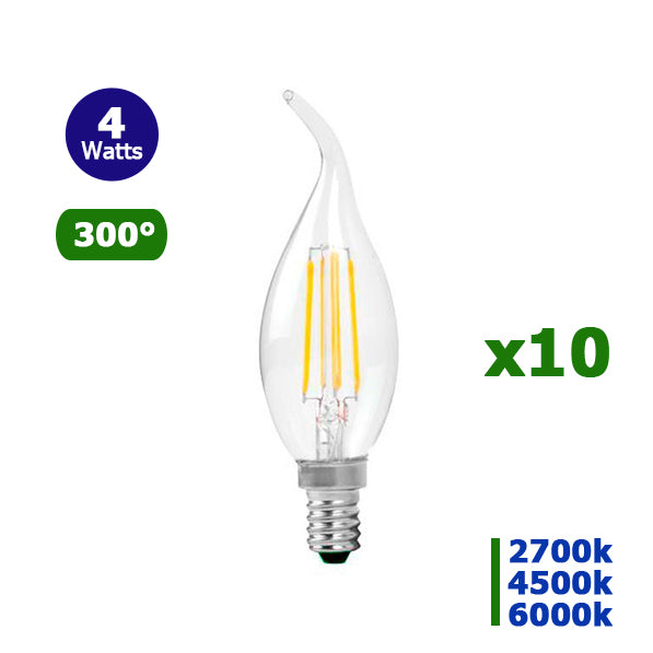 Lot de 10 Ampoules LED  E14 - 4 Watts - 320 Lumens - 80 Lumens/Watt - Filament - Bougie - 35 x 115 mm - Angle 300° - IP20