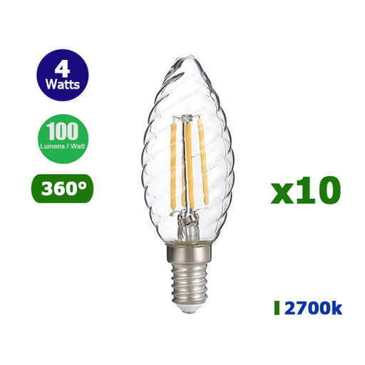 Lot de 10 Ampoules LED TWIST E14 C35 - Filament - Bougie - 4 Watts - 400 Lumens - 100 Lumens/Watt - 35 x 98 mm - Angle 360° - IP20