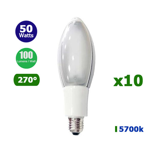 Lot de 10 Ampoules LED E40 - 50 Watts - 5000 lumens - IP20 - 105 x 280 mm