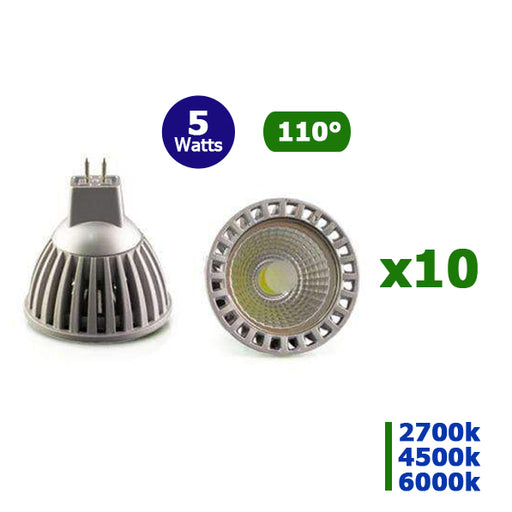 Lot de 10 Ampoules LED GU10 - 5 Watts - 50 x 55 mm - 110 degrés