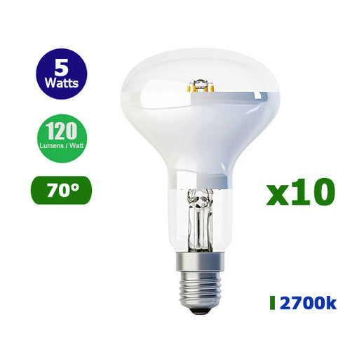 Lot de 10 Ampoules LED E14  R50 - 5 Watts - 600 Lumens - 120 Lumens/Watt - Filament - 50 x 86 mm - Angle 70° - IP20
