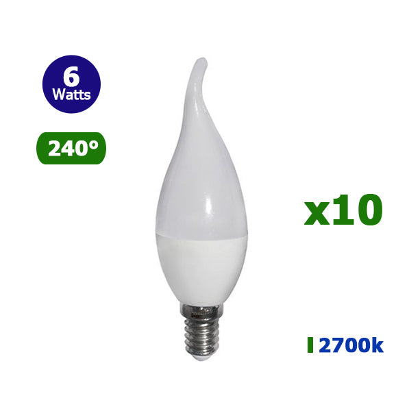 Lot de 10 Ampoules LED E14 C37 TIP - 6 Watts - Flamme - 480 Lumens - 80 Lumens/Watt - 37 x 125 mm - Angle 240° - IP20