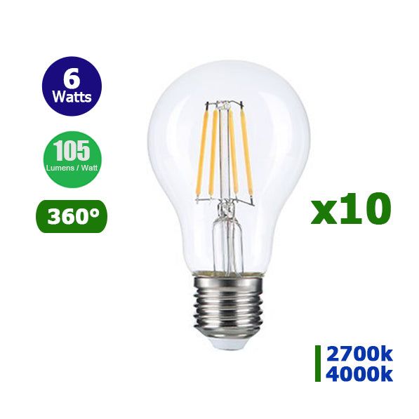 Lot de 10 Ampoules LED E27 A60 - 6 Watts - Filament - 630 Lumens - 105 Lumens/Watt - 60 x 105 mm - Angle 360° - IP20