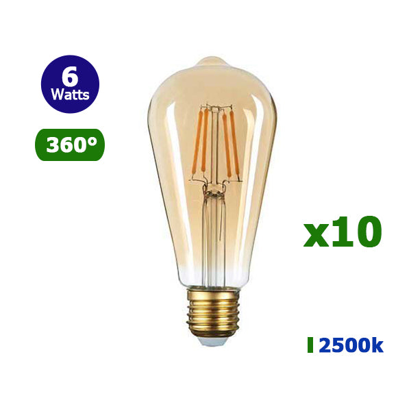 Lot de 10 Ampoules LED E27 ST64 - 6 Watts - Filament - Bougie - 540 Lumens - 90 Lumens/Watt - 64 x 140 mm - Angle 360° - IP20 - Verre dorée
