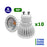 Lot de 10 Ampoules LED GU10 - 6 Watts - 50 x 55 mm - 50 degrés