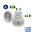 Lot de 10 Ampoules LED GU10 - 6 Watts - 50 x 60 mm - 50 degrés
