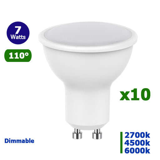 Lot de 10 Ampoules LED GU10 - 7 Watts - 50 x 54 mm - 110 degrés - Dimmable