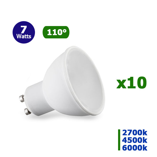 Lot de 10 Ampoules LED GU10 - 7 Watts - 57 x 50 mm - 110 degrés