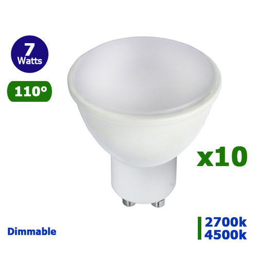 Lot de 10 Ampoules LED GU10 - 7 Watts - 55 x 45 mm - 110 degrés - Dimmable