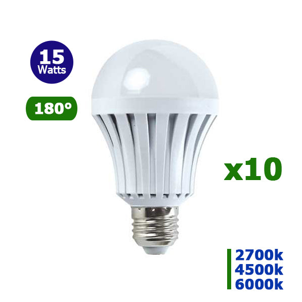 Lot de 10 Ampoules LED E27 - 15 Watts - 1150 Lumens - 76 Lumens/Watt -  60 x 127 mm - Angle 180° - IP20