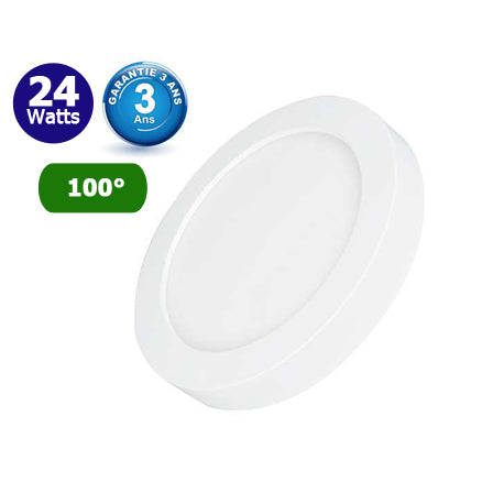 Dalle de surface ronde CCT- 24 Watts - 2150 Lumens - 85 Lumens/watt - ф245 x 35 mm - Angle 100° - IP40/IP20 - Transformateur inclus - Couleur changeante