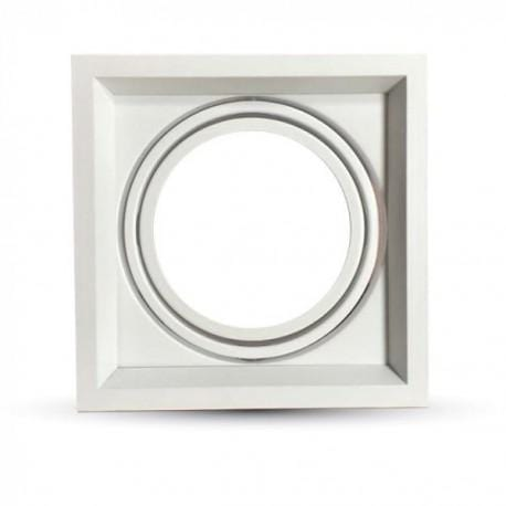 Collerette pour Spot - Blanc - Rectangle - Dimension 180 x 180 x 42 mm - Découpe 150 x 150 mm - Ajustable
