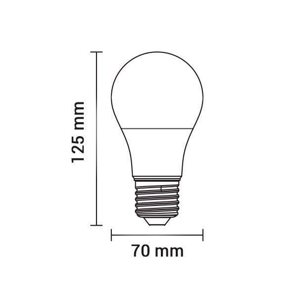 Lot de 10 Ampoules LED E27 - 18 Watts - 1440 Lumens - 80 Lumens/Watt - 70 x 125 mm - Angle 270° - IP20