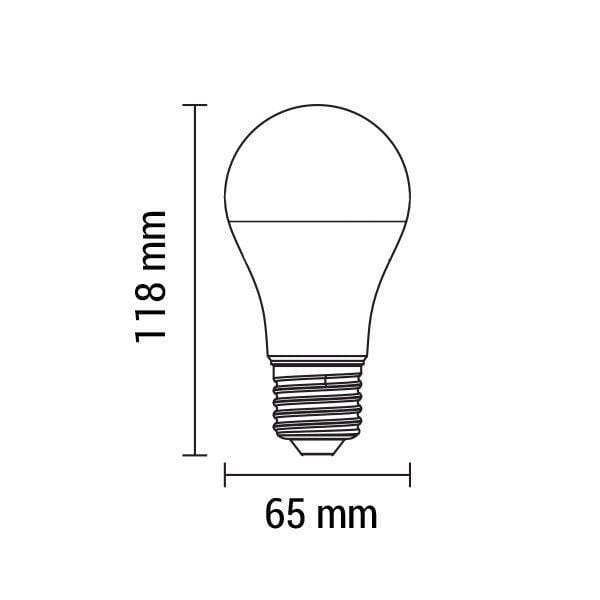 Lot de 10 Ampoules LED E27 - 15 Watts - 1200 Lumens - 80 Lumens/Watt - 65 x 118 mm - Angle 270° - IP20