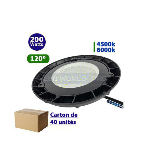 Carton de 40x Lampes industrielles UFO - Série LIGHT - 200 Watts - 17 000 Lumens - 85 Lumens/Watt - Angle 120° - 360 x 93 mm - IP65