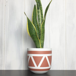 aztec plant pot in terracotta with snake plant