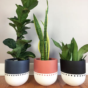 Bohemian plant pot in three colours